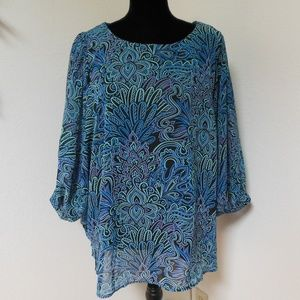 Bob Mackie Wearable Art Blue & Green Sheer Blouse